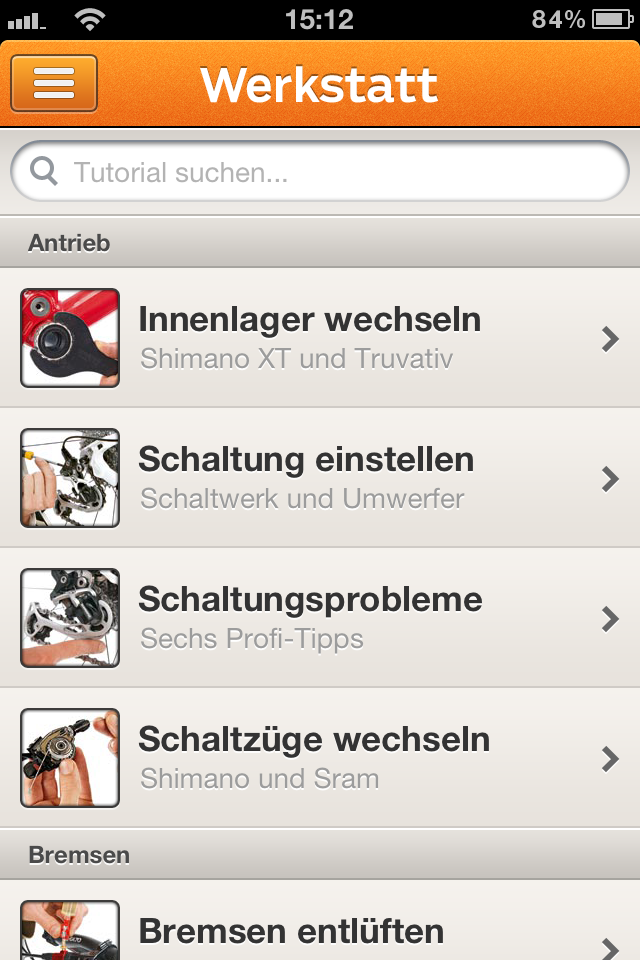 Hauptmenü der App