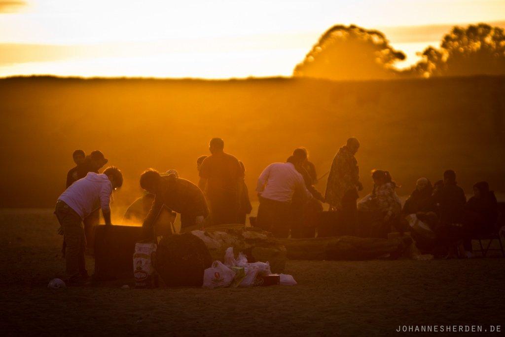 33. 7° - egal. Für kalifornische Jugendliche heißt Strand = Kurze Hose und Flipflops.