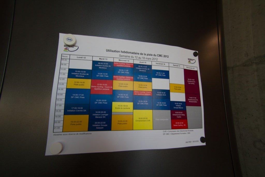 World Cycling Center - Wochenplan der Bahn