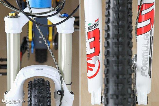 """35mm Standrohre geben der Gabel ihren Namen. Das Casting ist entweder für 27,5"""" Laufräder oder für 29"""" Laufräder ausgelegt. Eine 26""""-Version wird nicht angeboten."""