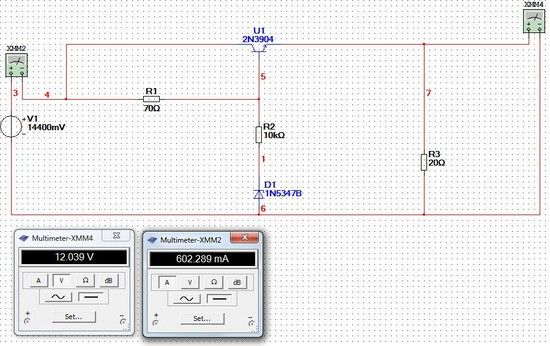 Foto: Simulation Schaltplan Spannungsreglung LED Lampe…