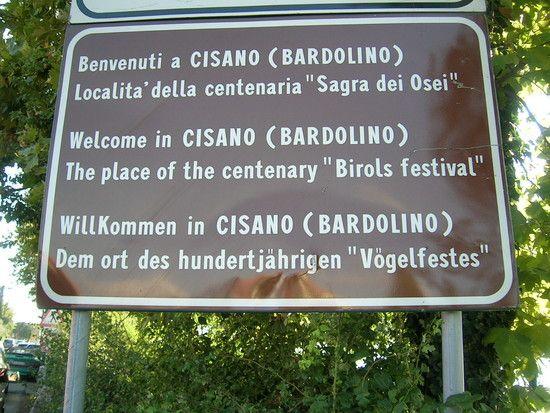Ortsschild CISANO am Gardasee