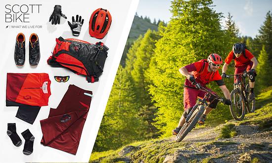 Scott bietet in seiner All-Mountain- / Enduro-Produktlinie farblich und vom Anwendungsbereich her passende Bekleidung zum Grafter Rucksack