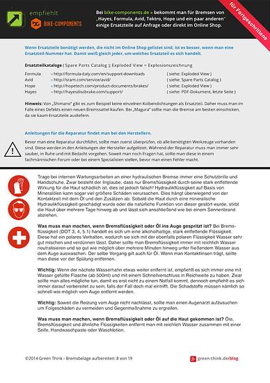 ★ Ersatzteile für Bremssättel und -hebel ★ Umgang mit Bremsflüssigkeit und Mineralöl ★ Anleitungen für die Wartung [ green-think.de/blog ]