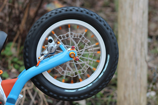Das ist mein Highlight am Bike: Die Umrüstung auf die schöne Shimano XTR Scheibenbremse am Hinterbau
