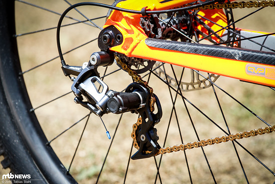 Das Schaltwerk mit kurzem Käfig am Downhill-Bike