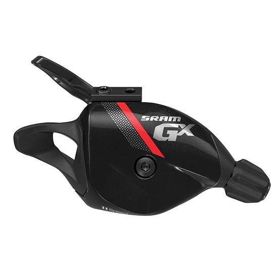 Der SRAM GX Schalthebel ist mit rotem oder grauen Streifen verfügbar und ist ebenso wie die teureren Modelle in zwei Positionen montierbar