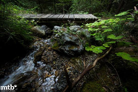 Eine schmale Holzbrücke überspannt den namenlosen Bach kurz unterhalb  der Burgruine Belfort.