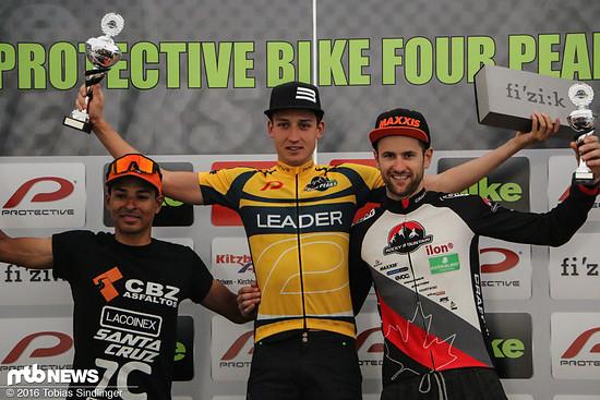 Die Gesamtwertung der Bike Four Peaks 2016: Simon Stiebjahn vor Luis Mejia und Uwe Hochenwarter