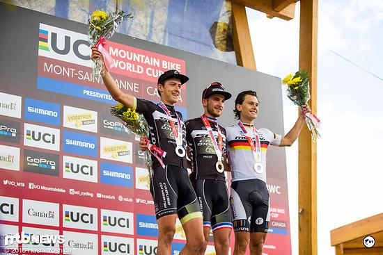 Das Podium der U23-Herren: Titouan Carod, Antoine Bouqueret und Lukas Baum
