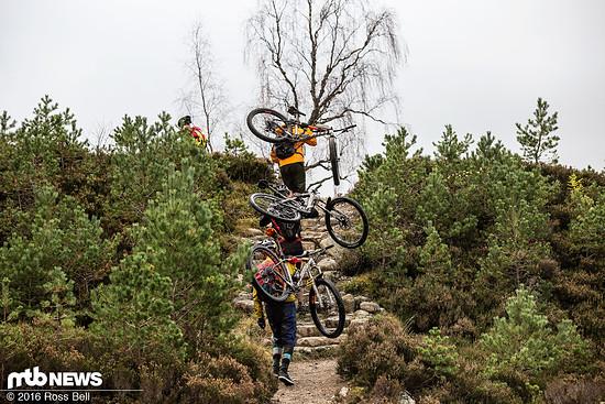 Extrem selten muss das Bike mal ein kurzes Stück geschultert werden