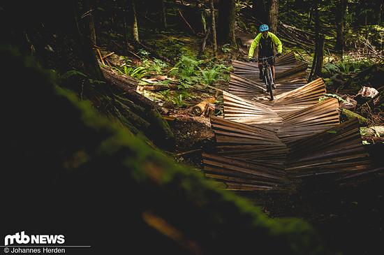 """Nochmal Squamish. Kern dieses Fotos ist weniger die Action als vielmehr dieses Wunderwerk eines Northshore-Trailstücks auf dem unglaublich guten Trail """"Rupert""""."""