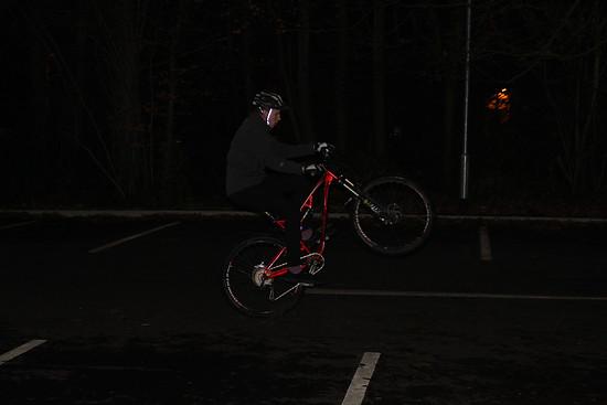 wheelie at night