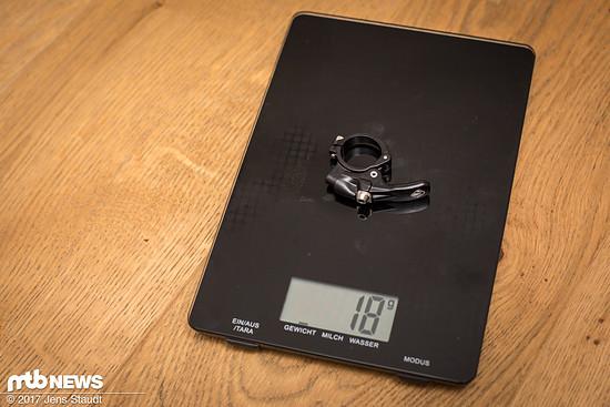 Alternativ gibt es den alten Hebel. Gesamtgewicht ohne Hülse, mit Klemme: 588 g