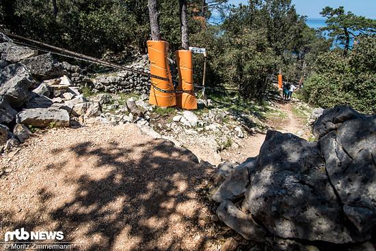 Nach den Sprüngen beginnt aber die extrem steinige Waldsektion.
