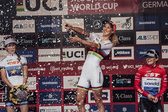 Yana Belomoina, Jolanda Neff, Anna Tauber perform at UCI XCO World Cup in Albstadt, Germany on May 20th, 2018