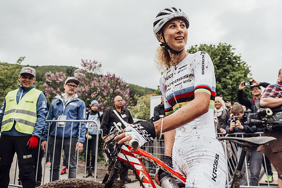 Jolanda Neff seen after the race at UCI XCO World Cup in Albstadt, Germany on May 20th, 2018