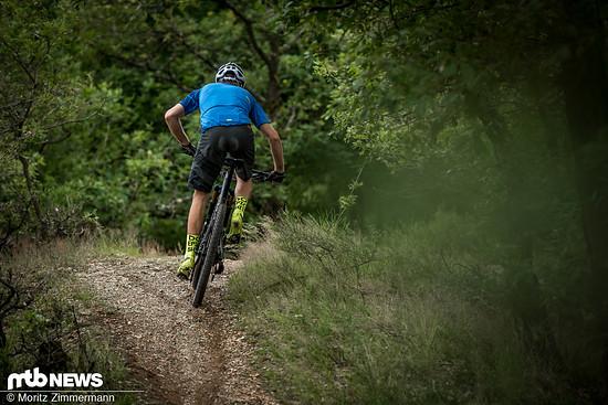 Im Wiegetritt an steilen Anstiegen sorgt die Mischung aus ruhigem Hinterbau und erstaunlich griffigen Maxxis Aspen TR-Reifen für guten Grip am Hinterrad.