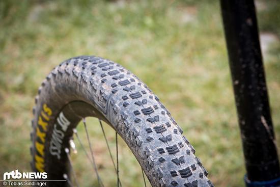 In den meisten Fällen setzten die Pros vom Canyon Topeak Team auf den Maxxis Aspen Reifen in der Exo-Variante.
