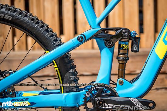 Der Viergelenker-Hinterbau kommt im Gegensatz zum neuen GT Fury-Downhillbike ohne Kettenumlenkung aus