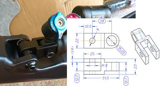 Capra 2018 shock extender +28mm