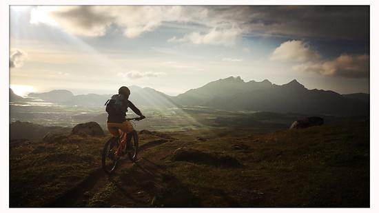 Lofoten, hike up, bike down
