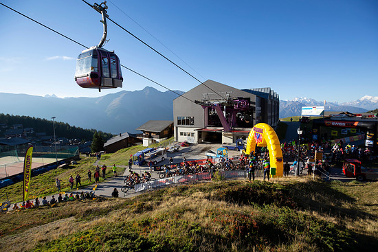 The UCI riders during Stage 1 of the 2018 Perskindol Swiss Epic held in Bettmeralp, Valais, Switzerland on 11 September 2018. Photo by Nick Muzik. PLEASE ENSURE THE APPROPRIATE CREDIT IS GIVEN TO THE PHOTOGRAPHER