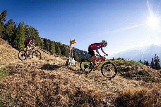Martin Fanger and Noah Blöchliner of BMC Fischer Price during Stage 1 of the 2018 Perskindol Swiss Epic held in Bettmeralp, Valais, Switzerland on 11 September 2018. Photo by Nick Muzik. PLEASE ENSURE THE APPROPRIATE CREDIT IS GIVEN TO THE PHOTOGRAPH