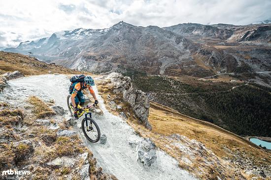 Der Sunnegga Flowtrail in Zermatt ist der längste der Schweiz