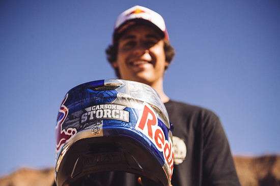 Carson Storch receives a new helmet at Red Bull Rampage in Virgin, Utah on October 24, 2018