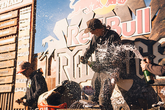 Competitors celebrate at Red Bull Rampage in Virgin, Utah on October 26, 2018 // Paris Gore / Red Bull Content Pool // AP-1XAYSH8AD2111 // Usage for editorial use only // Please go to www.redbullcontentpool.com for further information. //