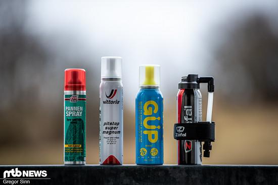 Wir haben vier Pannensprays von Tip Top, Vittoria, GÜP und Zefal gegeneinander antreten lassen