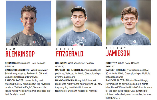 Die drei Fahrer des Norco Factory DH Teams