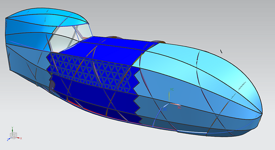 Mosquito Velomobile, Foldable Fairing with Mosquito fitted.