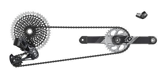 Robuste Stealth-Optik: Die nur wenige Gramm schwerere Gruppe für den Trail- und Endurobereich. SRAM X01 Eagle AXS