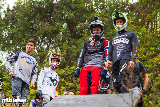 Bevor es ernst wird, checken Fischi, Brage Vestavik, Angel Suarez und der erst 18-jährige Silbermedaillen-Gewinner Felipe Agurto die Strecke ein letztes Mal aus.