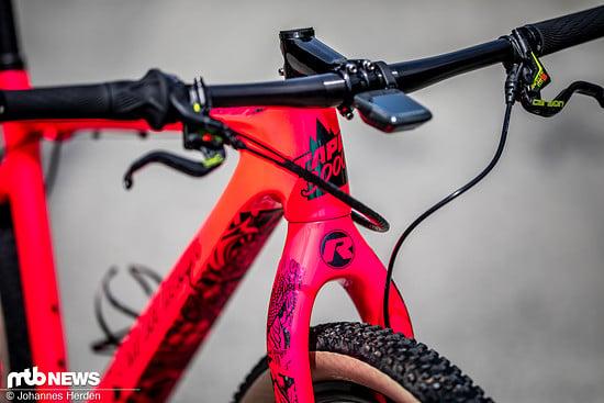 """Das Bike ist mit """"Tape 3000"""" zugestickert und macht so dank der halbtransparenten Rahmenschutzfolie aus einem einfarbigen Rahmen ein auffälliges Modell"""
