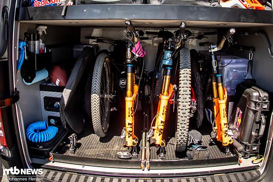 Links befindet sich ein Kompressor – natürlich um die Reifen aufzupumpen, aber auch, um Power für den Wasserdruckstrahler verfügbar zu haben.