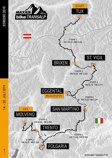 Es warten sieben Etappen mit ca. 550 km und 18.500 Höhenmeter auf die Fahrer aus mehr als 35 Nationen bei der 22. BIKE Transalp