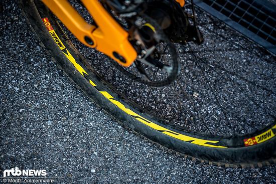 Gerollt wird auf Mavic Deemax DH-Laufrädern.