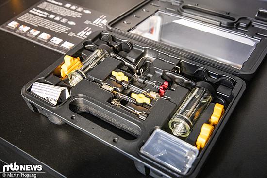 Das neue Jagwire-Entlüftungskit kommt in einem soliden Koffer und mit jeder Menge Zubehör.