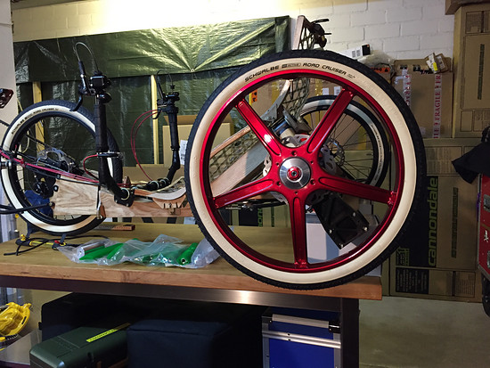 Mosquito Velomobile, Mosquito #8, Go-Cycle hub... Magnesium Wheel Test fit!