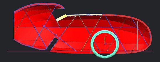 Mosquito Velomobile, Mosquito #8. Bamboo on Frame line cut Side