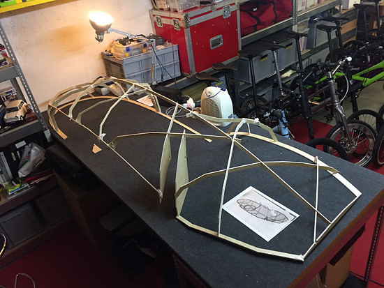 Mosquito Velomobile, Mosquito #8. Bamboo Fairing... Left side done...