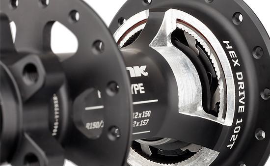 Der Freilauf der Spank Hex Drive-Naben verfügt über 102 Zähne und einen  kleinen Rastwinkel von 3,5°