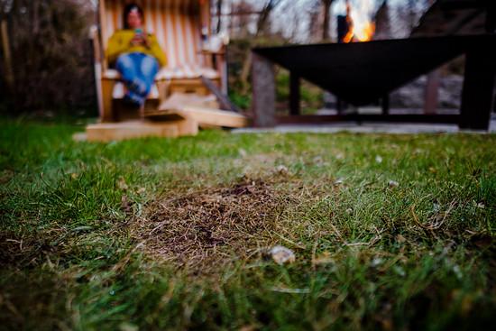 Wir lernen: Heizt man der Schale so richtig ein, sollte man sie nicht auf dem Rasen stehen lassen.
