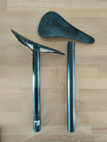 Sattel/Stützen Kombi links: 133,7g Rechts die Teile für die sub100 Kombi