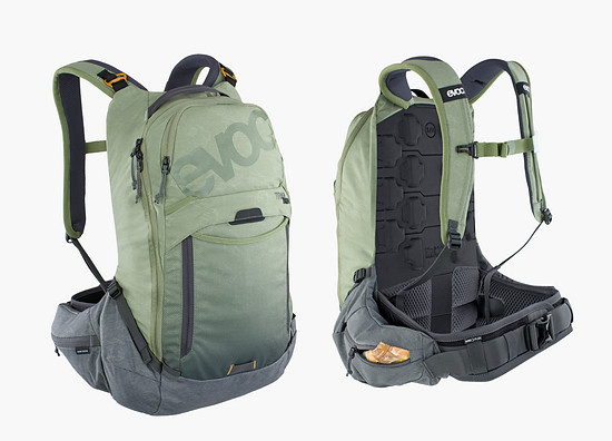 Der Evoc Trail Pro 16 schützt euren Rücken, ist hervorragend belüftet und bietet dazu ausreichend Stauraum für eine Tagestour