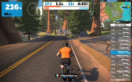 Eigentlich ist man bei Zwift mit einem Rennrad auf der Straße unterwegs …